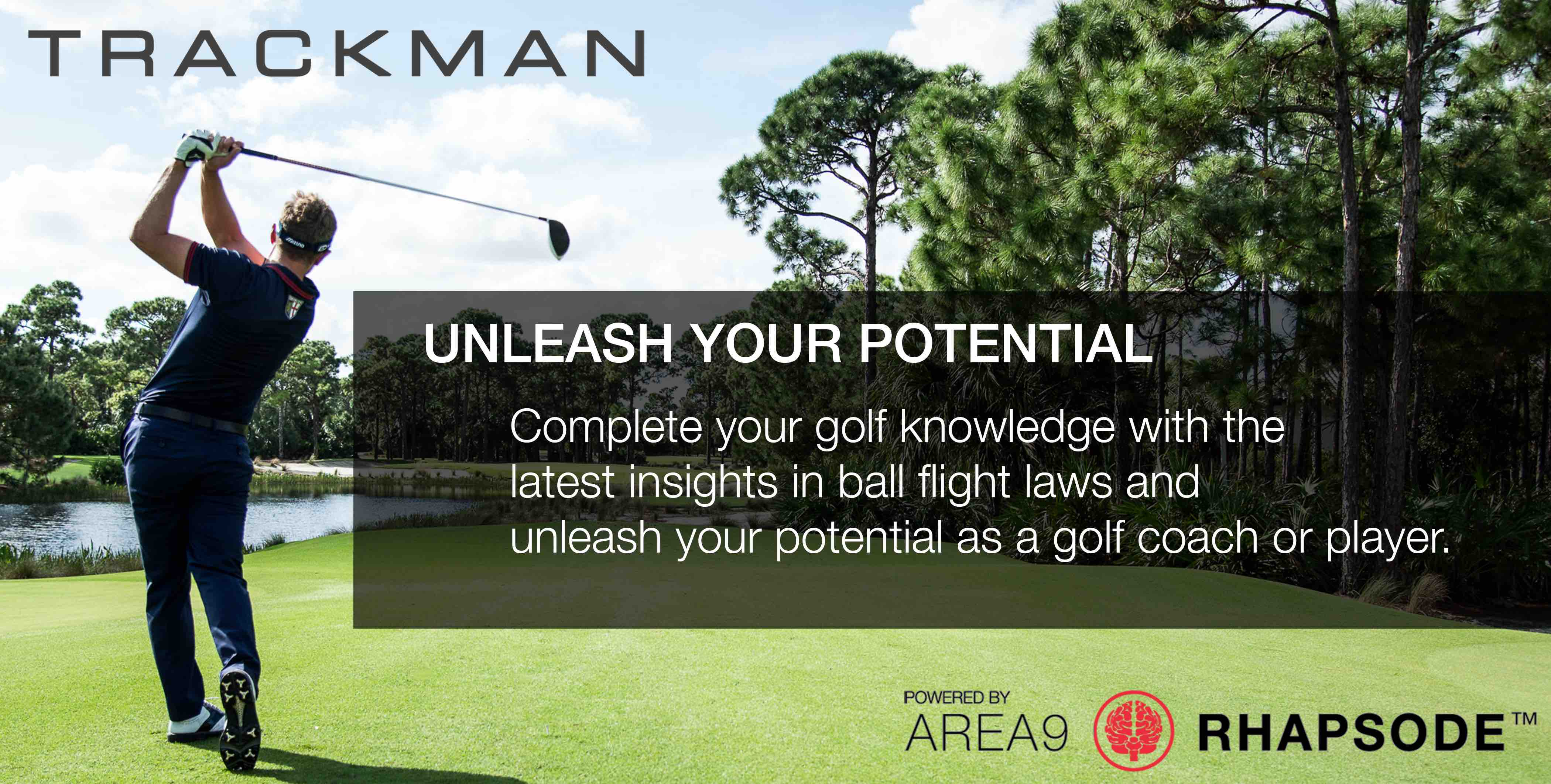 Area9 Lyceum and TrackMan Unleash Your Potential Golf Knowledge Golf Ball Flight Laws Experience Adaptive Learning Banner
